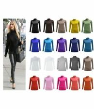NEW WOMENS LADIES CASUAL PLAIN BASIC LONG SLEEVE POLO NECK TOP T-SHIRT SIZE 8-26