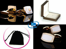 White Pearl Luxury Gold Leaf Crystal Gem-Stone Cuff-link Unisex + Pouch Or Box