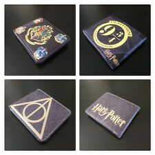 NEW HARRY POTTER FAUX LEATHER BIFOLD WALLET MEN'S BOYS DEATHLY HALLOWS HOGWARTS