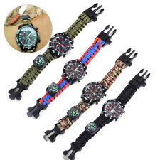 Survival Paracord Watch Bracelet Fire Starter Compass Whistle Outdoor Hiking Kit