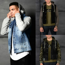 AD Mens Designer Denim Hooded Jersey Sleeves Retro Vintage Trendy Hoody Jacket