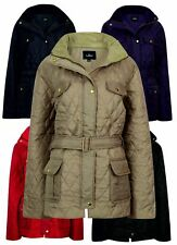 LADIES RIDING COAT JACKET WOMENS WINTER SIZE PADDED PLUS SIZE LARGE BIG NEW BELT