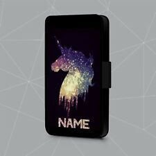 Personalised Phone Case Name Printed Glitter Unicorn Faux Leather Flip Cover
