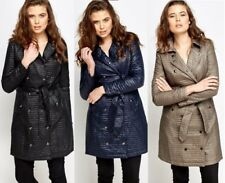 NEW FASHION LADIES DOUBLE BREASTED LONG BELTED QUILTED JACKET COAT SIZE 8 , 10