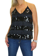 Finger Nail Sequin And Tassel Cami Top, Chain Muscle Back 6-16