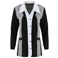 Q55 New Women's Classic Button Up Collar Neck Contrast Long Sleeve Shirt Plus