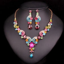 Fashion Crystal Bridal Jewelry Sets Party Costume Accessories Wedding Necklace E