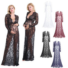 Sexy Women's Maternity Mesh Sheer Lace Deep V-Neck See-through Long Maxi Dress