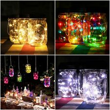 10/20 LED String Lights Copper Mason Jars Battery Operated Lamp Home Decorations