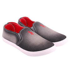 World Wear Footwear Men's Canvas PVC Sole Black Casual Loafer Shoes (1004)