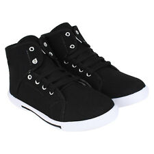 World Wear Footwear Men's Canvas PVC Sole Black Casual Sneakers Shoes (303)