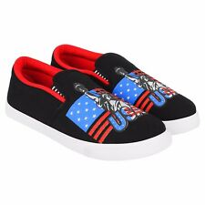 World Wear Footwear Men's Canvas PVC Sole Black Casual Loafer Shoes (654)