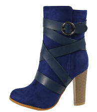 Women's Faux Suede w/ Faux Leather Strappy Buckle Stacked Heel Ankle Bootie