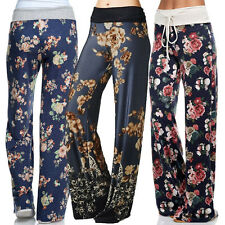 ESTATE DELL'ANNATA da donna Casual Larga floreale GAMBA Pantaloni Yoga Workout