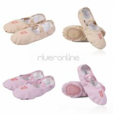 Child Kids Girls PU Leather Ballet Dance Stage Shoes Slippers Soft Sole Flat UK