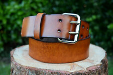 Cristopher Handmade Full Grain Brown Leather Belt Nickel Plated Roller Buckle