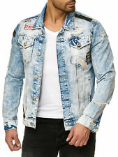 REDBRIDGE Herren Jeans Jacke (JJ) RBC Cool Styler Destroyed Patches Blue Denim