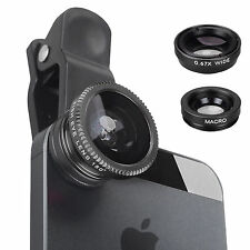 Universal 3in1 Clip On Camera Lens Kit Wide Angle Fish Eye Macro For iPhone
