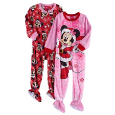 MINNIE MOUSE 2T 3T 4T Toddler Girls FOOTED PAJAMAS Blanket Sleeper Christmas NEW