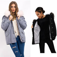 Womens Oversized Faux Fur Trim Fleece Hooded Parka Jacket Coat Winter Warm Coat