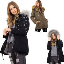 Womens Eyelet Detail Faux Fur Hooded Parka Winter Jacket Button pocket Coat Warm