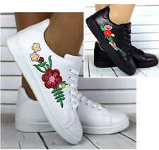LADIES CELEBRITY FLOWER EMBROIDERED LACE UP FAUX LEATHER SNEAKERS TRAINERS