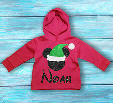 Disney Christmas Mickey Mouse inspired baby's long sleeve hooded t-shirt.