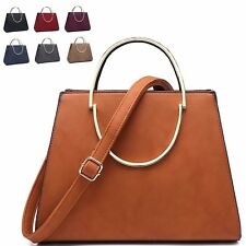 Ladies Faux Leather Retro Style Handbag Work Day Grab Bag  Shoulder Bag M7243
