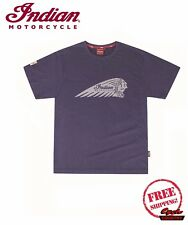 GENUINE INDIAN MOTORCYCLE BRAND COTTON T-SHIRT TEE HEADDRESS LOGO NAVY NEW SCOUT