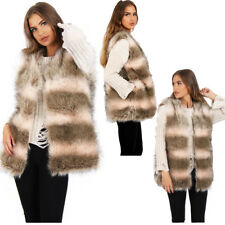 Womens Fur Gilet Brown and Pink Stripe Faux Fur Gilet Winter Warm Gilet Jacket