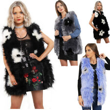 Women's Warm Gilet Outwear Flower Faux Fur Sleeveless Waistcoat Jacket Coat UK