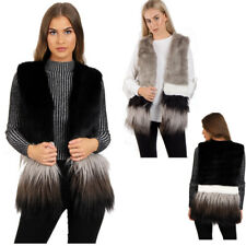 UK Women Warm Gilet Outwear Two Tone Faux Fur Gilet Waistcoat Ladies Jacket Coat
