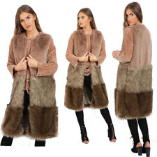 Women Long Outwear Maxi Fleece Faux Fur Winter Waistcoat Coat Jacket Gilet UK
