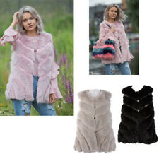 Women's Warm Leather Panel Swing Gilet Outwear Faux Fur Waistcoat Jacket Coat UK