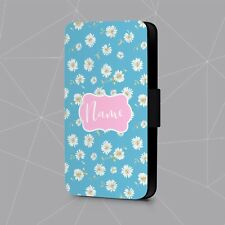 Personalised Phone Case Name Initial Floral Daisy Faux Leather Flip Cover