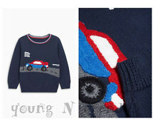 BNWT NEXT 9-12-18-24 months 2-3 years boys COTTON KNITTED JUMPER WITH CAR *NAVY!