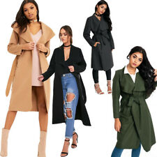 Ladies Womens LONG Waterfall Trench COAT Collar Belt Jacket Lush  Oversized Wool