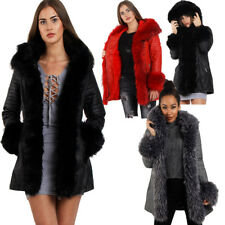 Womens Winter Warm Cosy Faux Fur Hooded Long Leather Jacket Coat long Biker UK