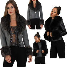 New Womens Short Faux Fur Trim Biker Leather Jacket Coat Short Outerwear Coat