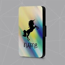 Personalised Phone Case Name Initial Rainbow Unicorn Faux Leather Flip Cover