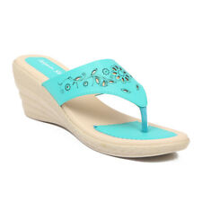 Adjoin Steps Women Leather Sea green Wedges (AS_W46_Green)