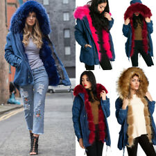 Womens Long Parka Coat Faux Fur Hood Trim Lining detachable fur Denium Jacket UK