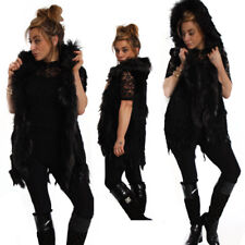 New Women Knitted Genuine Fur Gilet Waistcoat Black Sleeveless Hood Jacket UK