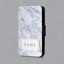 Personalised Phone Case Name Marble Geometric Gold Faux Leather Flip Cover
