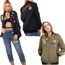 New Womens OVERSIZED PATCH Embroidered Applique BOMBER JACKET Coat Outerwear UK