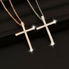 Crystal Cross Pendant Necklace For Women Silver Gold Chain Rosary Jesus Crucifix
