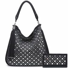 Ladies Multi Gem Tassel Handbag Purse Set Slouch Bag Shoulder Bag Tote A34485