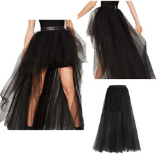 Sexy Black Women Skirt High Low Tulle Tutu Skirt Wedding Party Ball Gowns Dress
