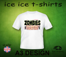 ZOMBIES EAT BRAINS YOUR SAFE       ADULT WHITE T-SHIRT   FRUIT OF THE LOOM
