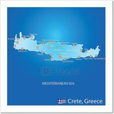 Island Of Crete In Greece Map Art Print Home Decor Wall Art Poster - C